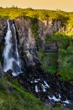 Hundafoss waterfall from above, Iceland in summer, water in motion blur. stock photos