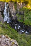 Hundafoss waterfall from above, Iceland in summer, water in motion blur. stock photo