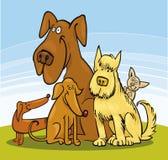 hundar fem grupp stock illustrationer