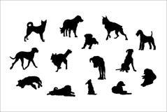 hundar skisserar poserar olika silhouettes royaltyfri illustrationer