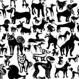 hundar ställde in Färgpulverklottervovvar vektor illustrationer