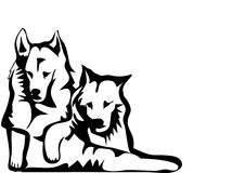 hundar två stock illustrationer