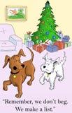 Hundarna gör en lista för presents Royaltyfria Foton