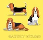 Hunde-Basset Hound-Karikatur-Vektor-Illustration Stockbilder