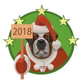 Hunde-Bernhardiner-guten Rutsch ins Neue Jahr 2018 Lizenzfreies Stockbild