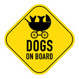 Hunde an Bord des Zeichens stockfotos