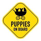 Hunde an Bord des Zeichens stockbild