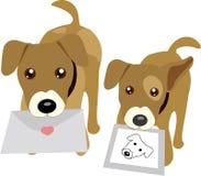 Hunde, die Zeichen und Foto anhalten Lizenzfreie Stockfotografie