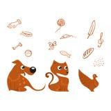 Hunde-, Katzen- und Vogelsatz Stockfotos