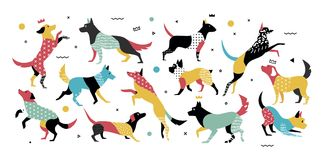 Hunde mit geometrischen Elementen in der Art der Jahre 90s lizenzfreie abbildung