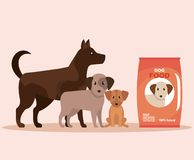 Hunde mit Nahrungsmittelspende zum Spendenservice lizenzfreie abbildung