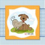 Hunde- u. der Katzefreundschaft Lizenzfreie Stockfotos