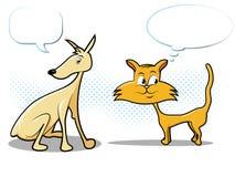 Hunde-und Katze-Karikatur Stockbild