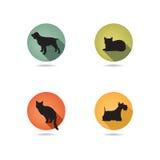 Hunde- und Katzensatz Sammlung des Haustierikonenschattenbildes Lizenzfreie Stockfotografie