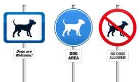 Hunde verbietend und Gebotszeichen Stockfotografie