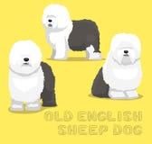 Hundealte englische Schäferhund-Karikatur-Vektor-Illustration Lizenzfreie Stockfotos