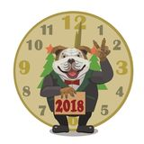 Hundebulldoggen-Uhrguten rutsch ins neue jahr 2018 Stockfotos
