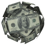 Hunded Dollar Bill Money Ball Cash Currency. A ball or sphere of 100 dollar american bills, cash or currency to illustrate growing your savings, investment or Stock Image