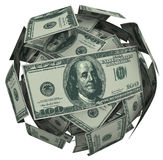 Hunded Dollar Bill Money Ball Cash Currency. A ball or sphere of 100 dollar american bills, cash or currency to illustrate growing your savings, investment or Royalty Free Stock Photos