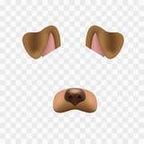 Hundegesichtsmaske für Videochat lokalisiert auf kariertem Hintergrund Tiercharakterohren und -nase Effekt des Filters 3d für Stockbild