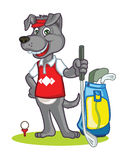 Hundegolfspieler-Karikatur Lizenzfreie Stockfotografie