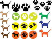 Hundeikone Hund, Pfotenabdruckikonen eingestellt Stockbild