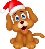 Hundekarikatur mit Weihnachtsrothut lizenzfreie abbildung