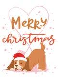 Hundekartenvektors des Weihnachten 2018 Karikaturwelpencharakterillustrationsausgangshaustierhündchen Weihnachtsdruckdesign-Netzf Lizenzfreie Stockbilder