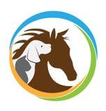 Hundekatzen- und -pferdebild lizenzfreie abbildung