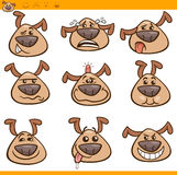 Hundemoticonskarikatur-Illustrationssatz Lizenzfreie Stockfotografie