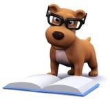 hunden 3d gillar för att läsa böcker Arkivbild