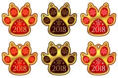 Hunden för det nya året tafsar 2018 ställ in etiketter Royaltyfri Fotografi