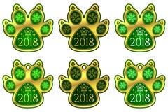 Hunden för det nya året tafsar 2018 ställ in etiketter Arkivfoton