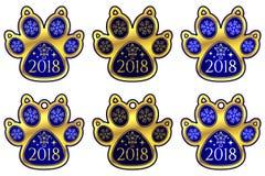 Hunden för det nya året tafsar 2018 ställ in etiketter Royaltyfri Bild