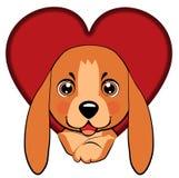 Hunden kom ut ur ett snidit hål i formen av en hjärta royaltyfri illustrationer