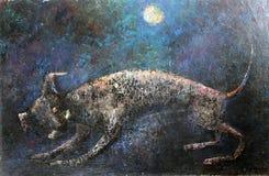 Hunden rymmer ett ben i tänder Konstoljamålning på kanfas royaltyfri illustrationer