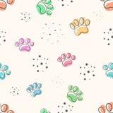Hunden tafsar - den gulliga seamlesmodellen vektor illustrationer