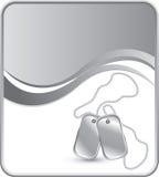 Hundeplaketten auf silbernem Wellenhintergrund Lizenzfreies Stockfoto