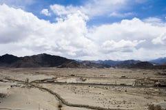 hunder村庄顶视图在Leh,印度 免版税库存照片