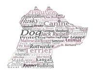Hunderasse-Hunde- Wort-Wolken-Typografie-Illustrations-Konzepte Ide Lizenzfreie Stockfotografie