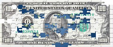 Hunderd  dollar bill puzzle Stock Photo