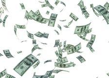 Hundered-Dollar fallendes 3d übertragen auf Weiß mit Beschneidungspfad Lizenzfreie Stockfotos