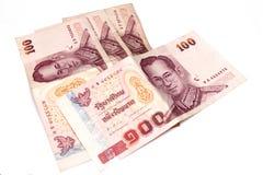 hundert Bahtquerneigungen, siamesisches Geld Lizenzfreies Stockbild