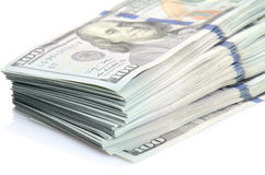 Hundert Dollar Banknotehintergrund Lizenzfreie Stockbilder