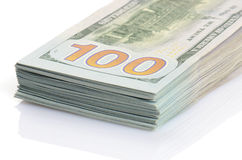 Hundert Dollar Banknotehintergrund Stockfotografie