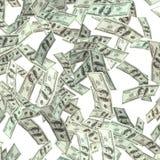 Hundert Dollar Banknoten fliegen Stockbild
