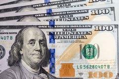 Hundert Dollar Banknotenhintergrund Lizenzfreie Stockbilder