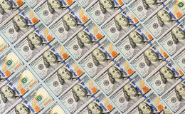 Hundert Dollar Banknotenhintergrund Stockfotos