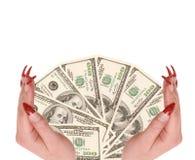 Hundert Dollar in den Händen Stockbilder