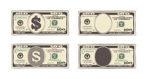 Hundert Dollar in der flachen Karikaturart Lizenzfreie Stockfotos